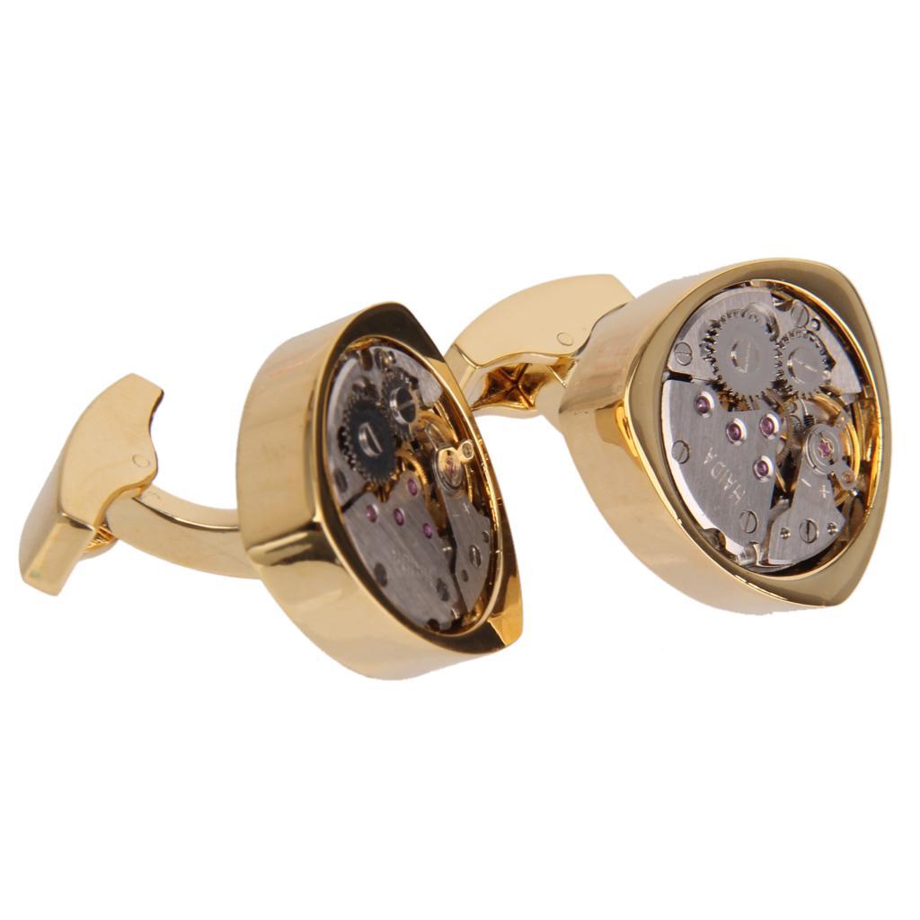 1 Pair Vintage Steampunk Watch Movement Gear Triangular Cufflinks Gold