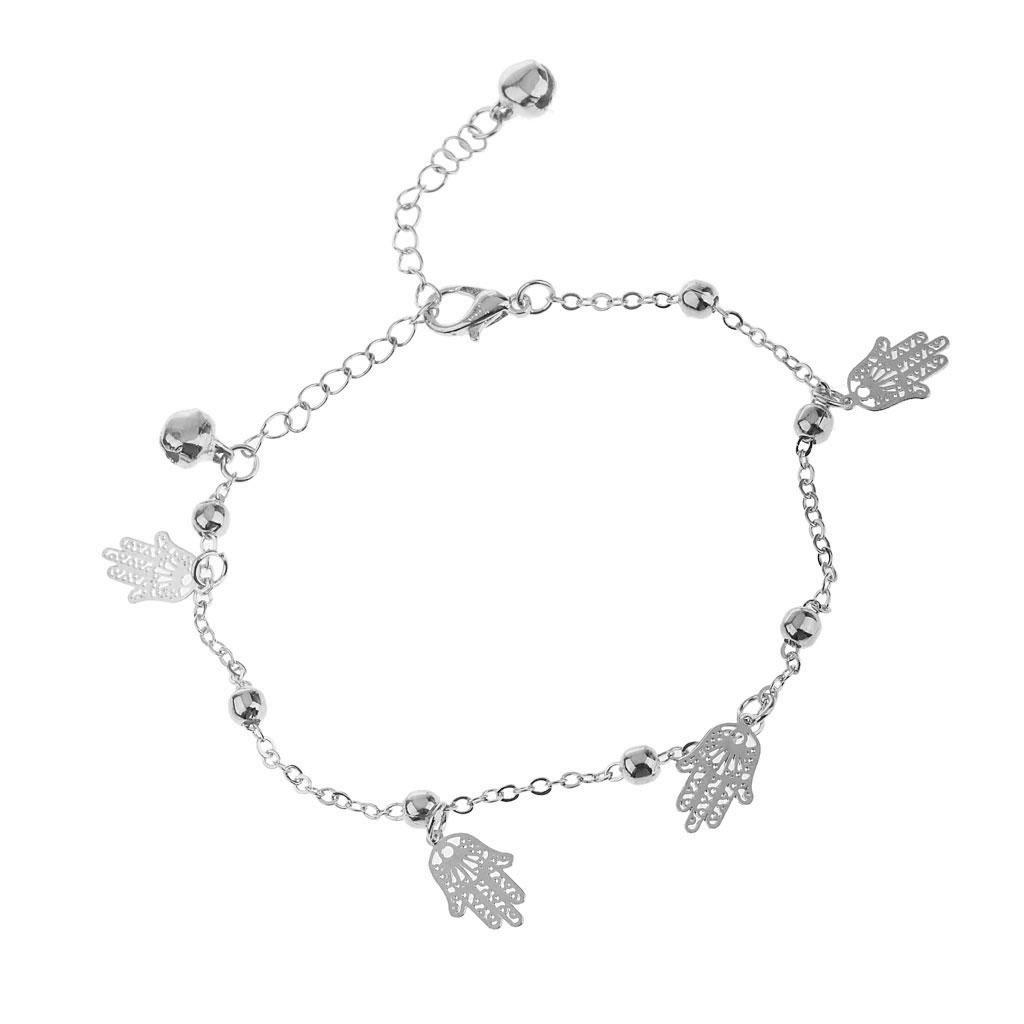 Hamsa Fatima Hand Bell Tassel Barefoot Bracelet Ankle Anklet Chain Silver