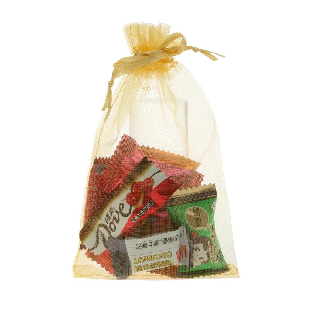 Wedding Favor Mesh Bags : ... 100pcs Sheer Candy Gift Drawstring Mesh Bags Wedding Party Favors-Gold