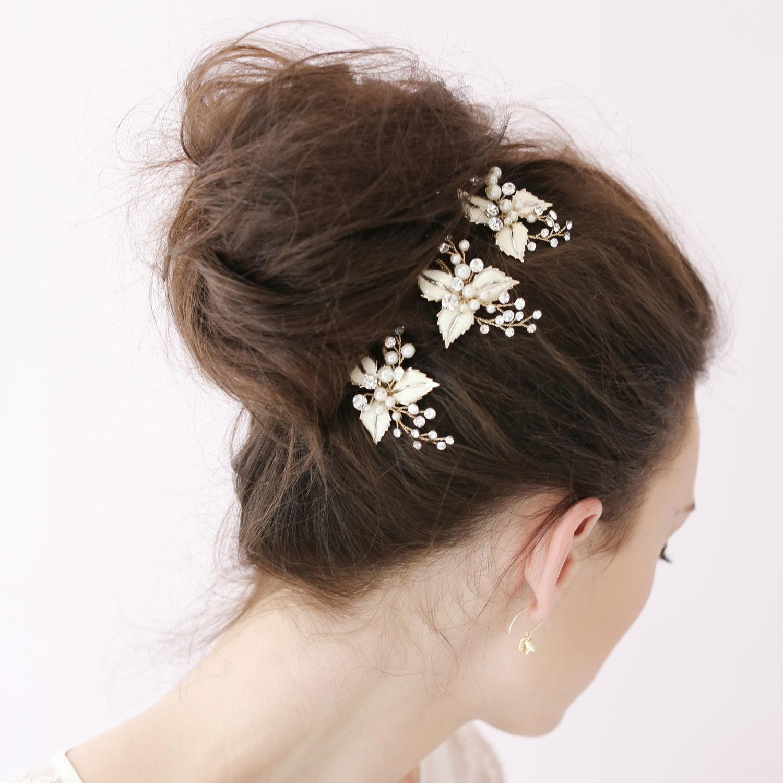 3PCS Bridal Wedding Pearl Hair Pin Crystal Hairpin Hair Clips Bridesmaid