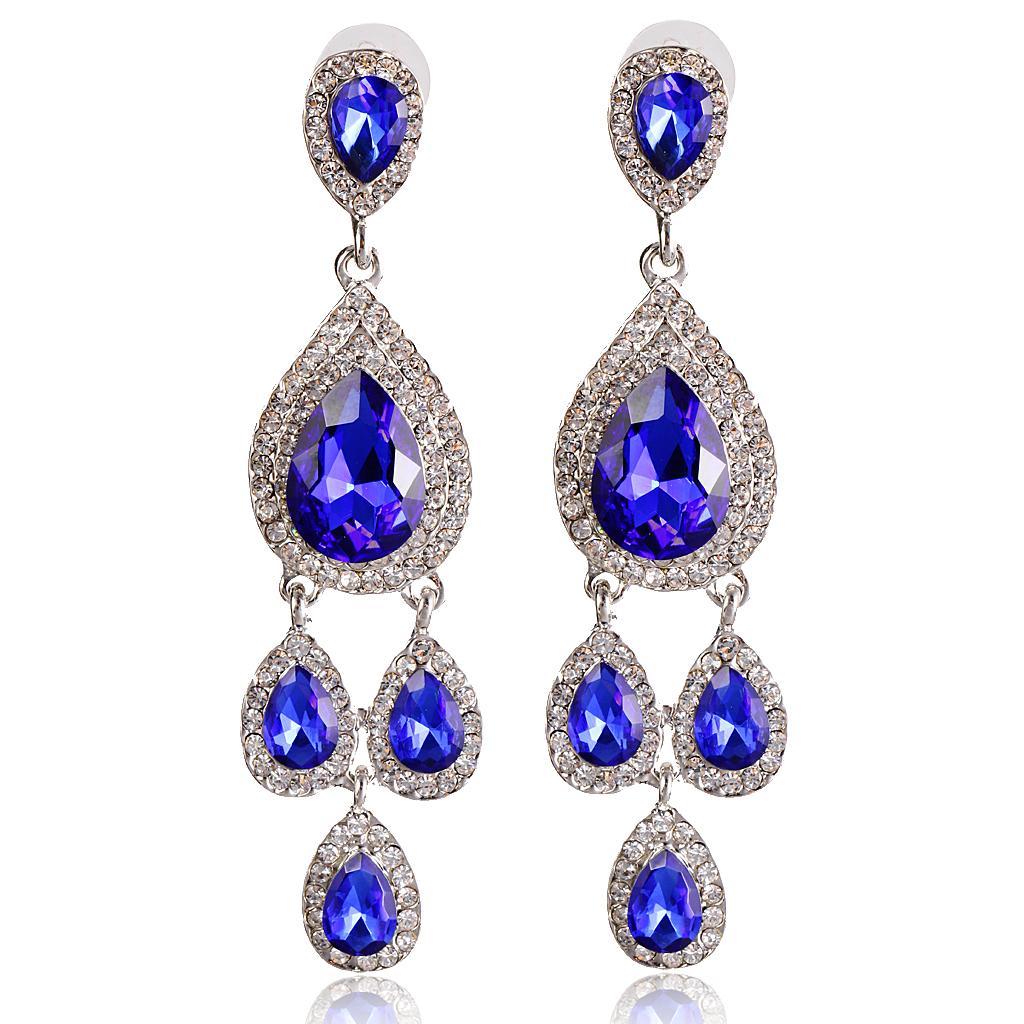 Vintage Crystal Diamante Drop Dangle Earrings Multi-Layers Tassels Royalblue