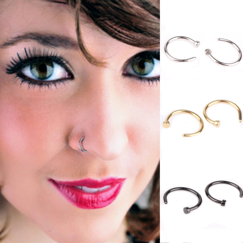 3 Pair Stainless Steel Horsehoe Spike Circular Nose Ring Hoop Body Piercing