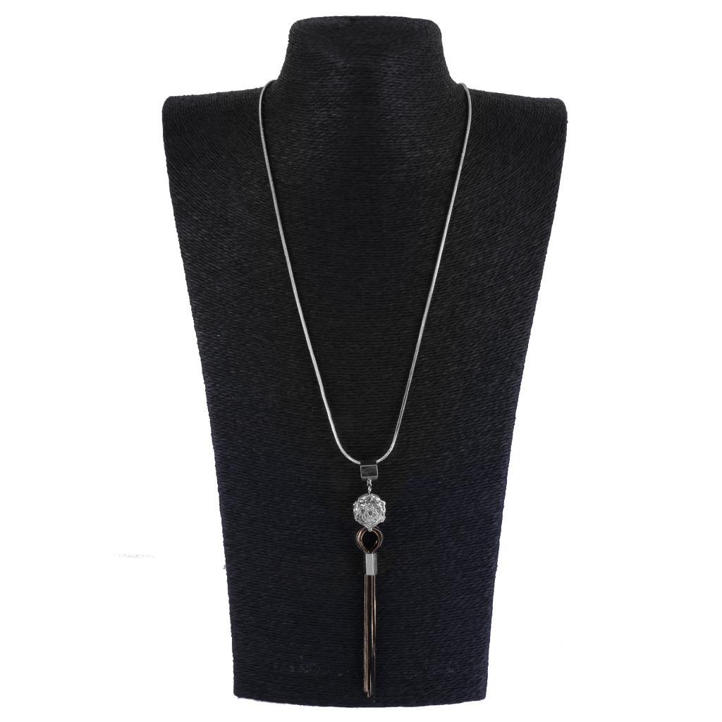 Fashion Rhinestone Rose Flower Tassels Pendant Long Chain Necklace Jewelry