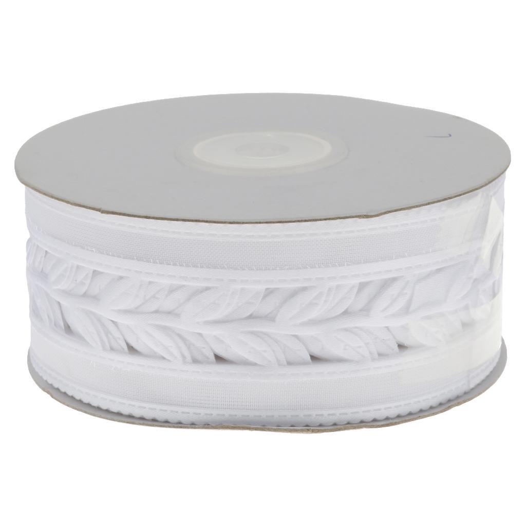 25 Yards 4cm Ribbon Wedding Party Bow Craft Satin DIY Decoration White Leaf