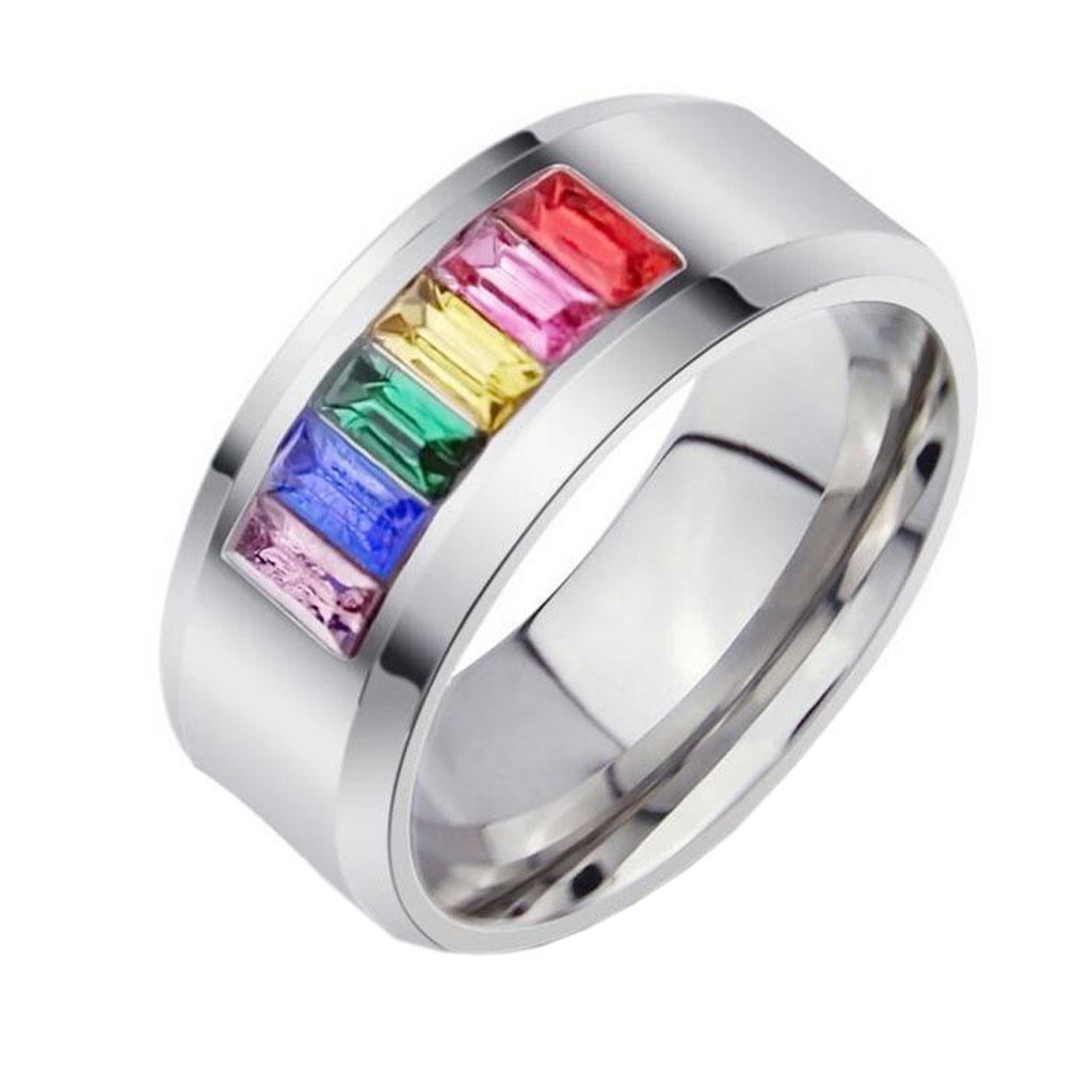 Rainbow Stainless Steel Multi-color Crystal Ring Gay Les Pride US...