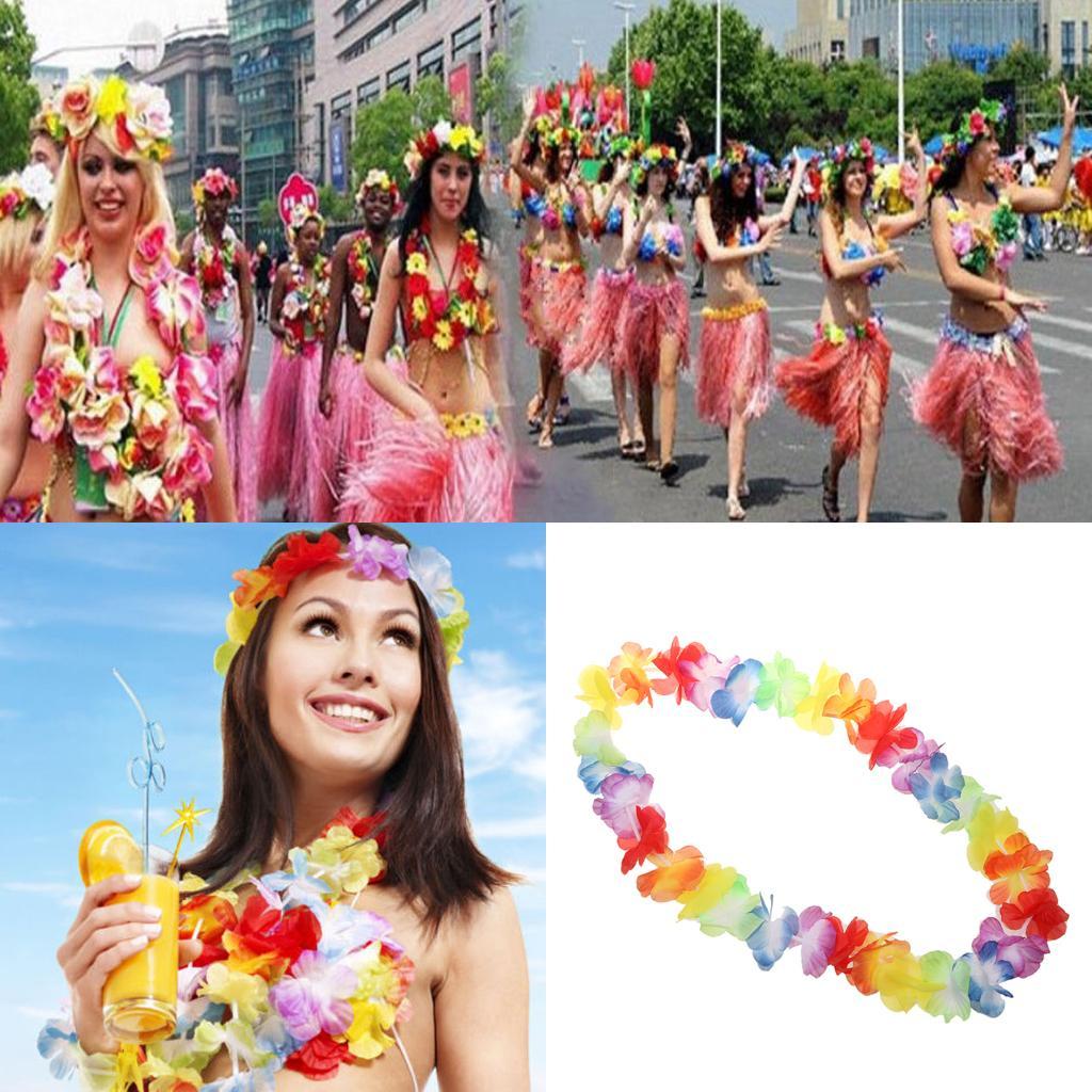 Hawaiian Beach Party Hula Dance Flower Wreath Necklace Headband Carnival Lei
