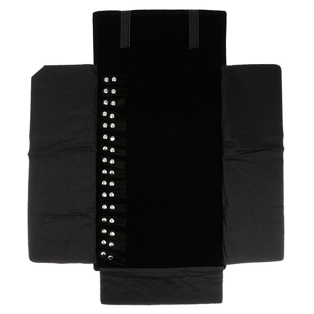 Black Portable Roll Storage Travel Bag Flannelette Necklace Holder Display