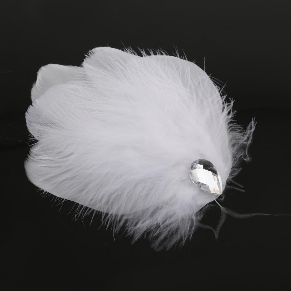 White Feather Headpiece Fascinator Hair Clip Wedding Bridal Hair Accessory T