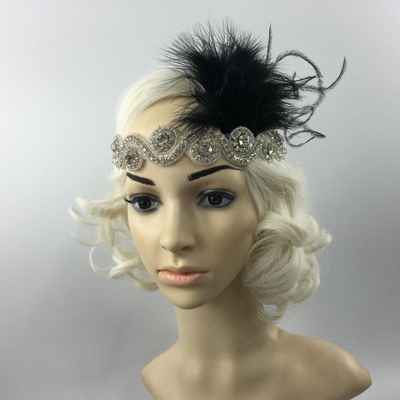 Great Gatsby 1920 Flapper Headpiece Crystal Bridal Black Feather Headband