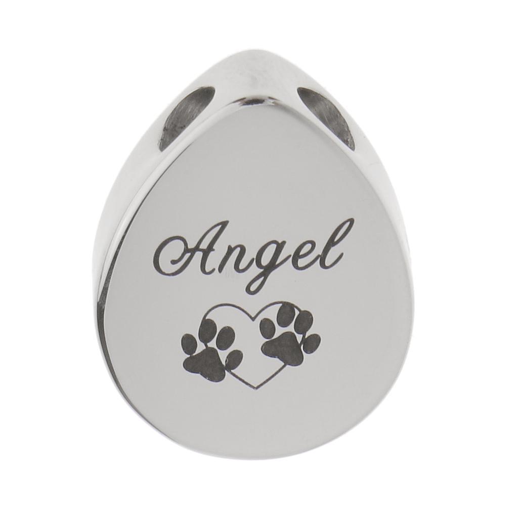 Waterdrop Angel Pet Paw Engraved Urn Pendant Memorial Ash Keepsake Cremation