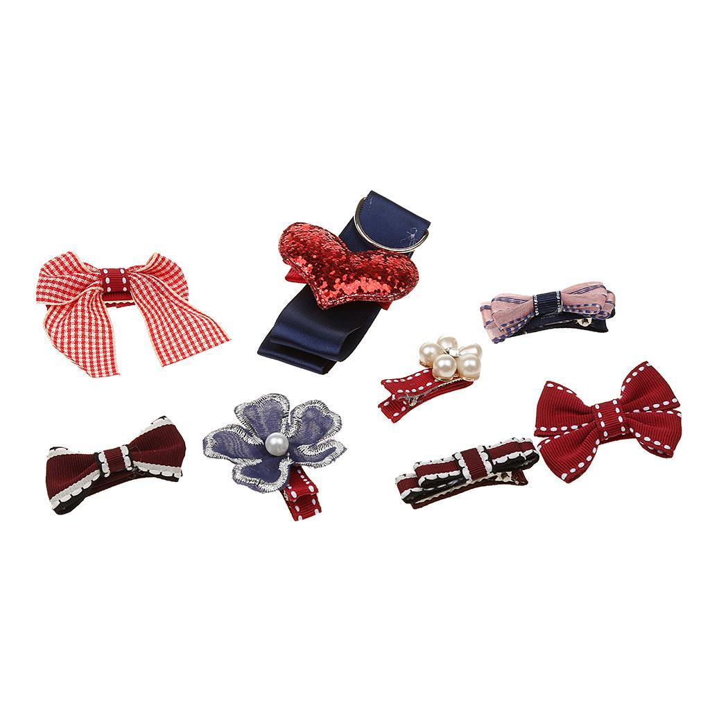 Lovely Kids Girls Hair Bow Heart Hair Clip Set with Ribbon Holder Storage