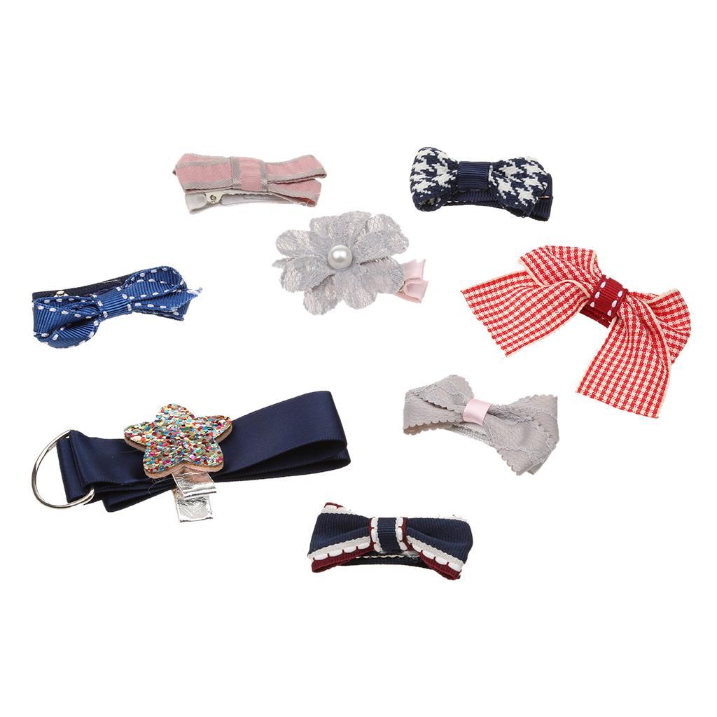 Lovely Kids Girls Hair Bow Star Hair Clip Set with Ribbon Holder Storage