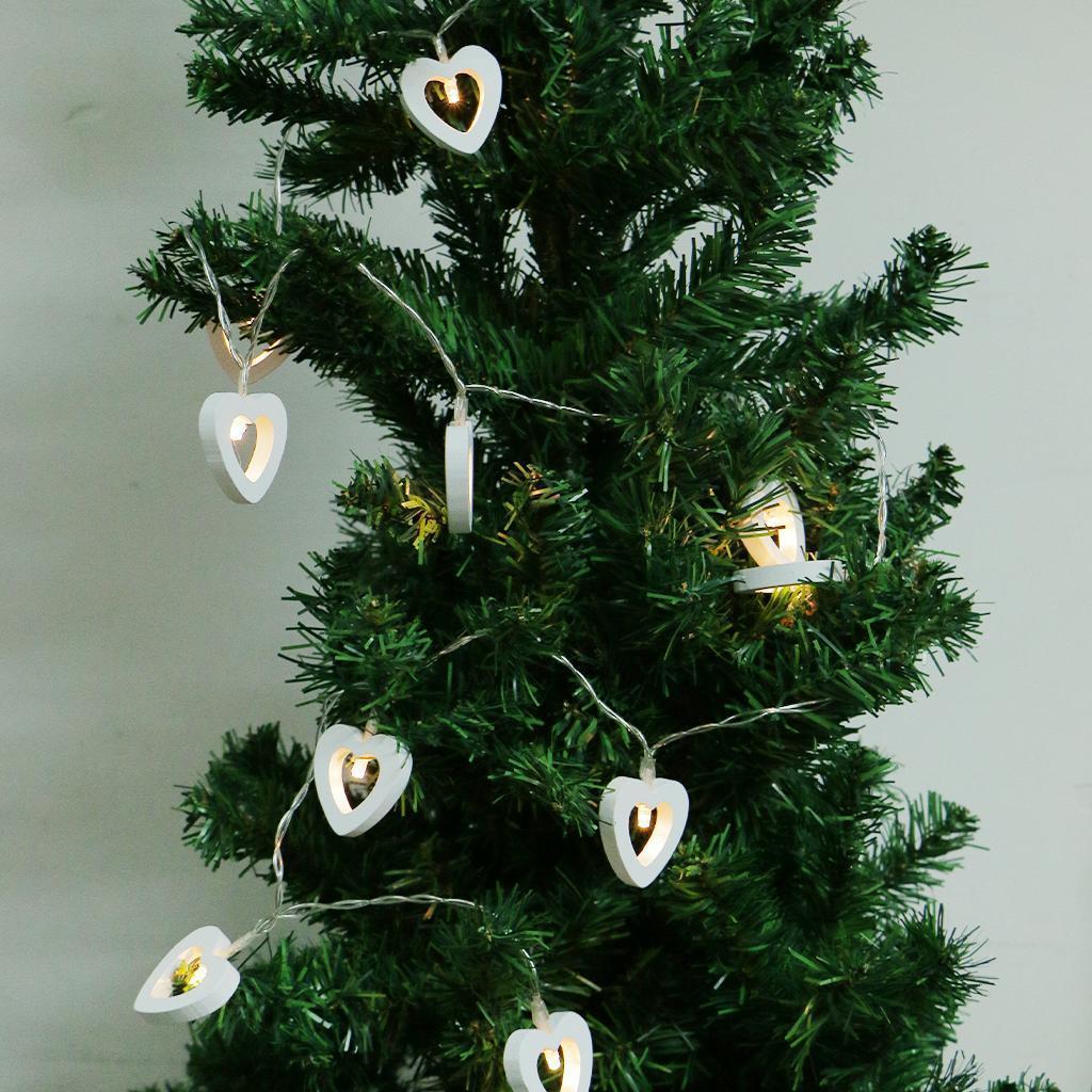 10 LED Battery String Lights Wooden Christmas Tree Love Heart Fairy Decor