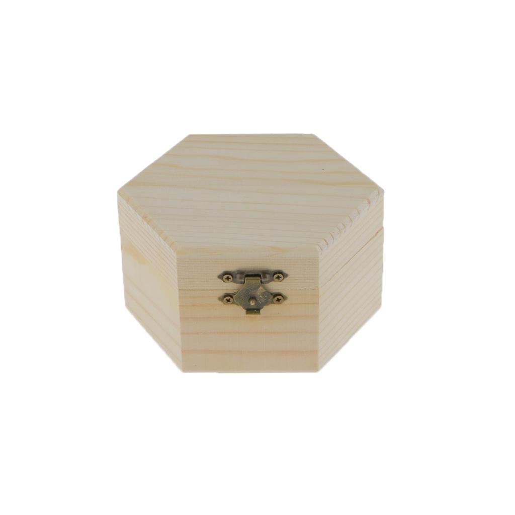 Unpainted Plain Hexagonal Wooden Jewelry Box Trinket Chest Gift Box