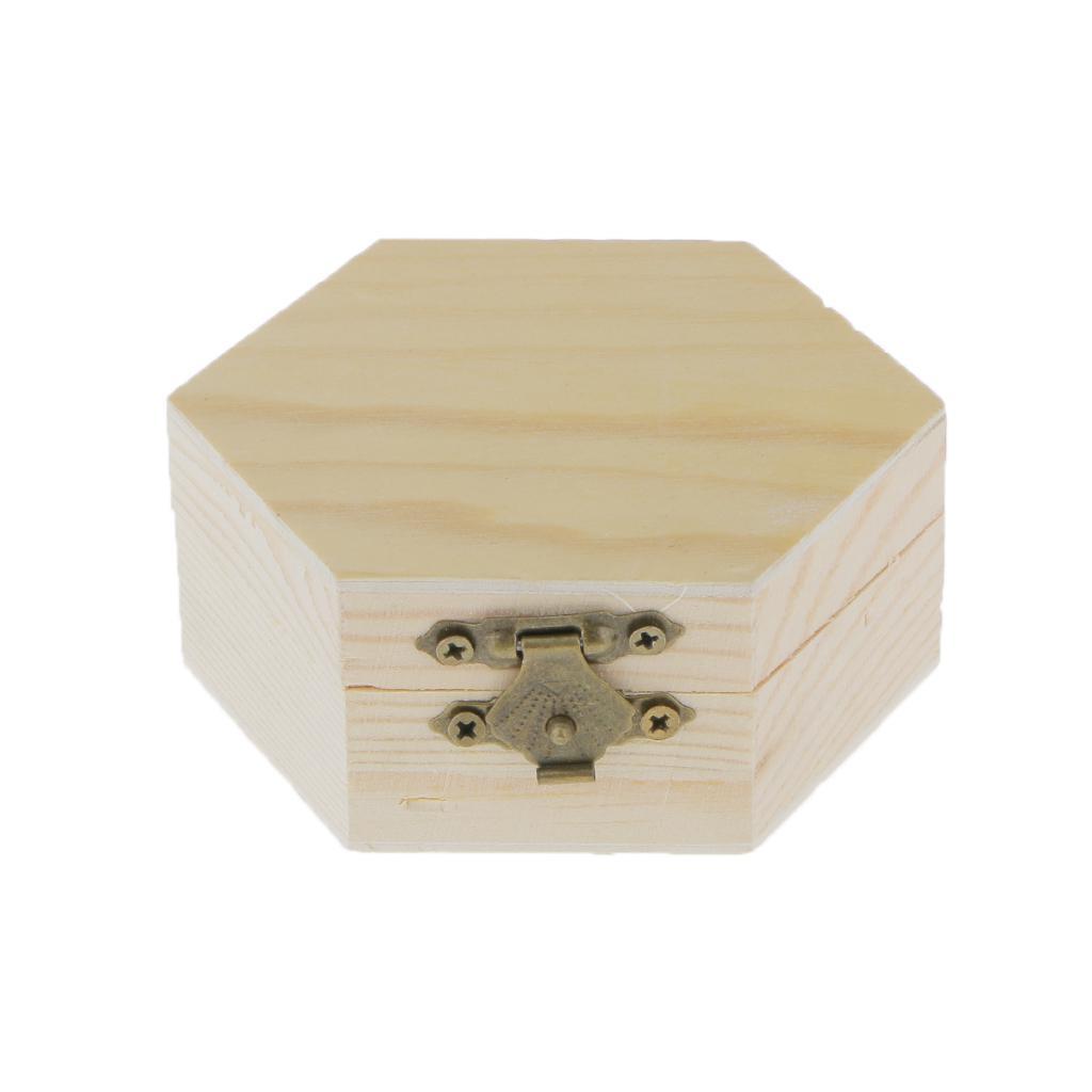 Unpainted Plain Hexagonal Wooden Jewelry Box Trinket Chest Craft
