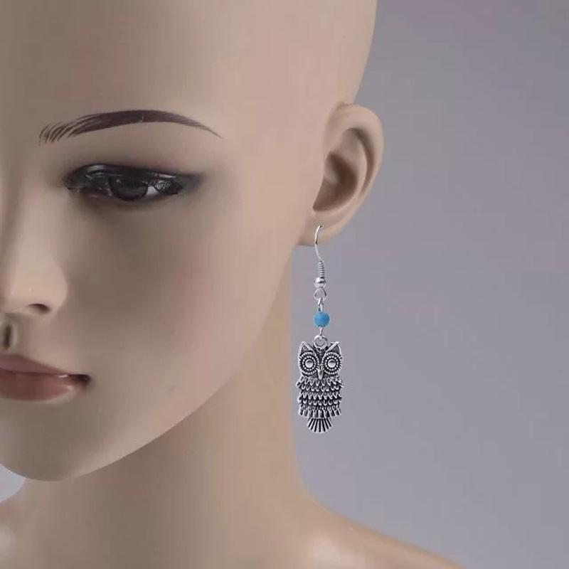 Retro Bohemian Cute Owl Shape Pendant Turquoise Beads Drop Dangle Earrings