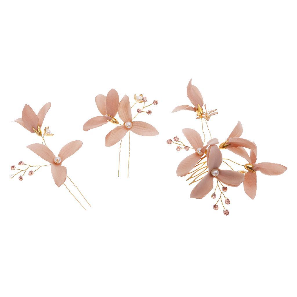 Wedding Bridal Flower Hair Comb Hairpins Hair Accessories Coffee