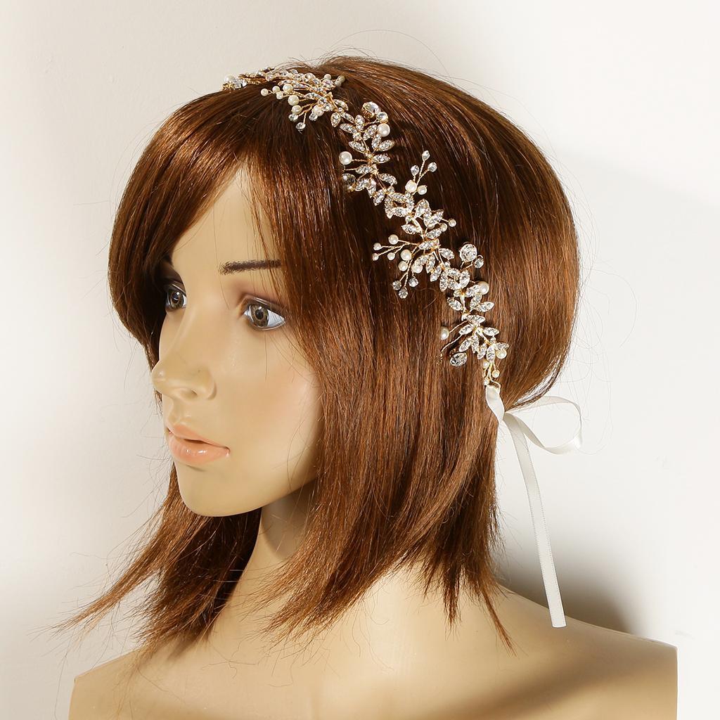 Crystal Pearls Vine Headband Tiara Wedding Bride Prom Hair ...