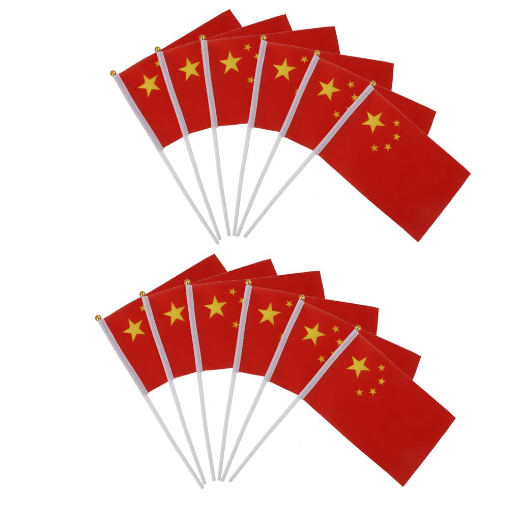 12pcs Hand Waving China Flags
