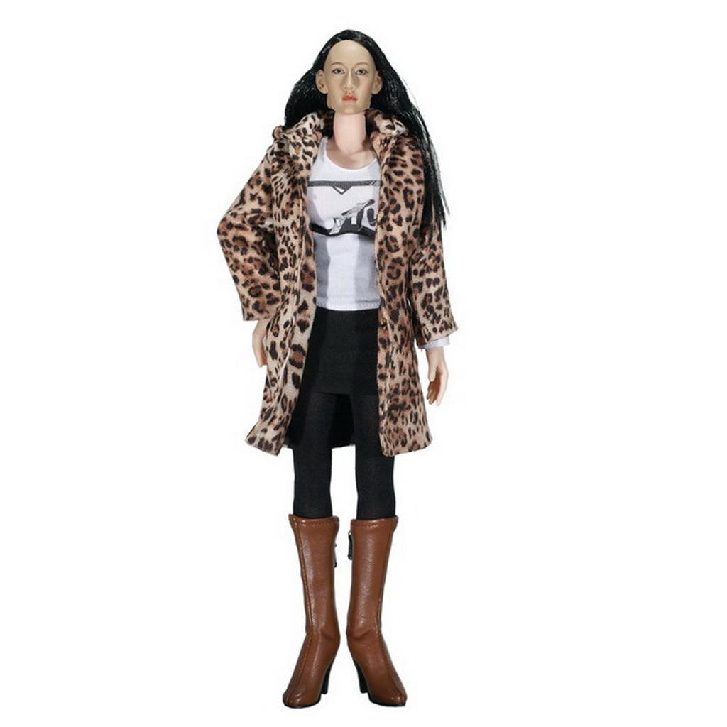 1/6 Female Clothes Leopard Print Coat Clothes Set
