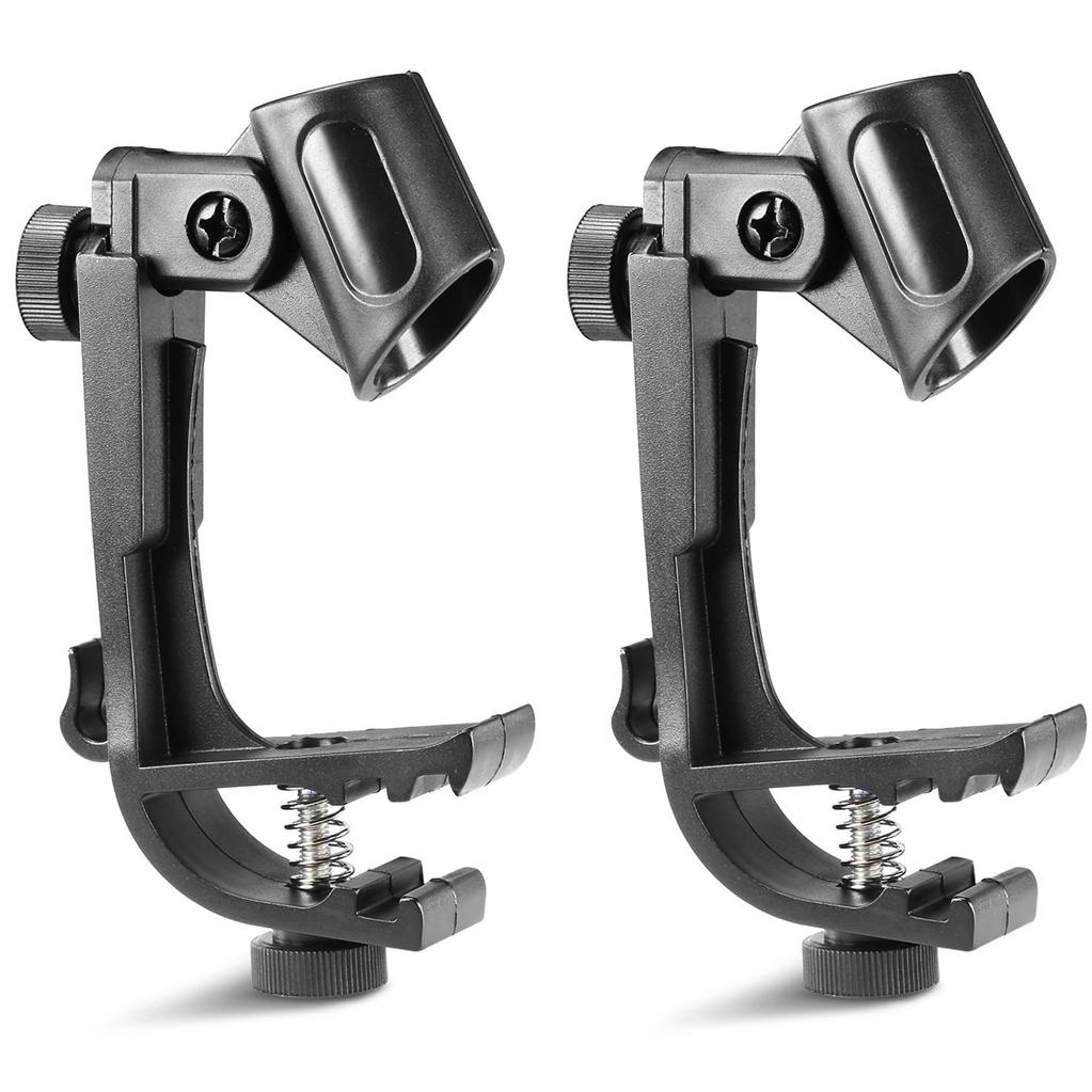 2pcs Adjustable Clip On Drum Rim Shock Mount Microphone Mic Clamp Holder