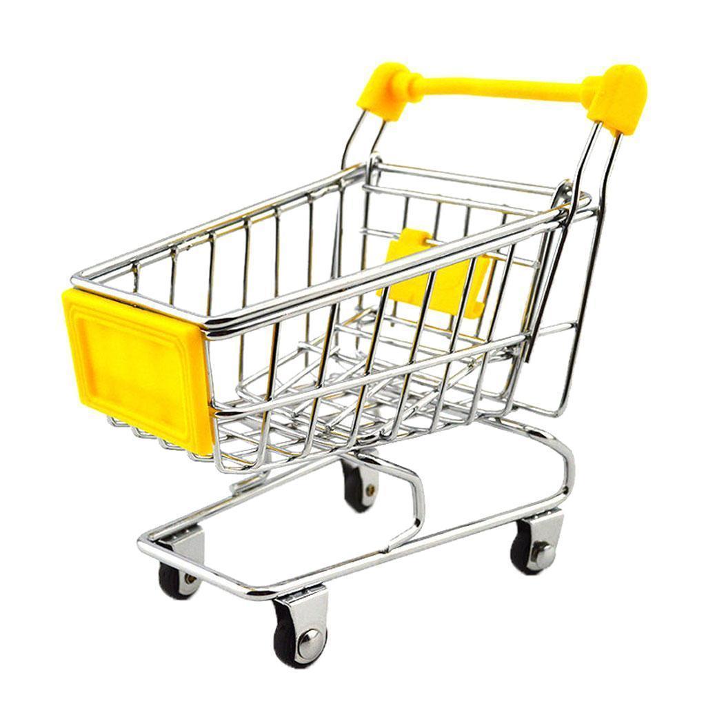 Mini Shopping Cart Trolley Toy Yellow