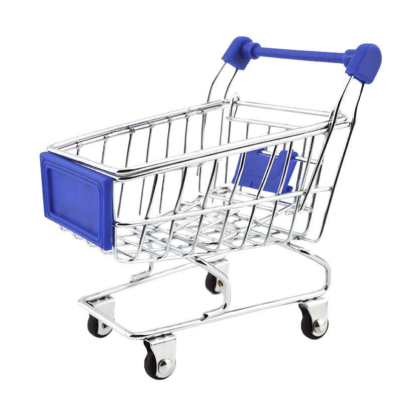 Mini Shopping Cart Trolley Toy Dark Blue