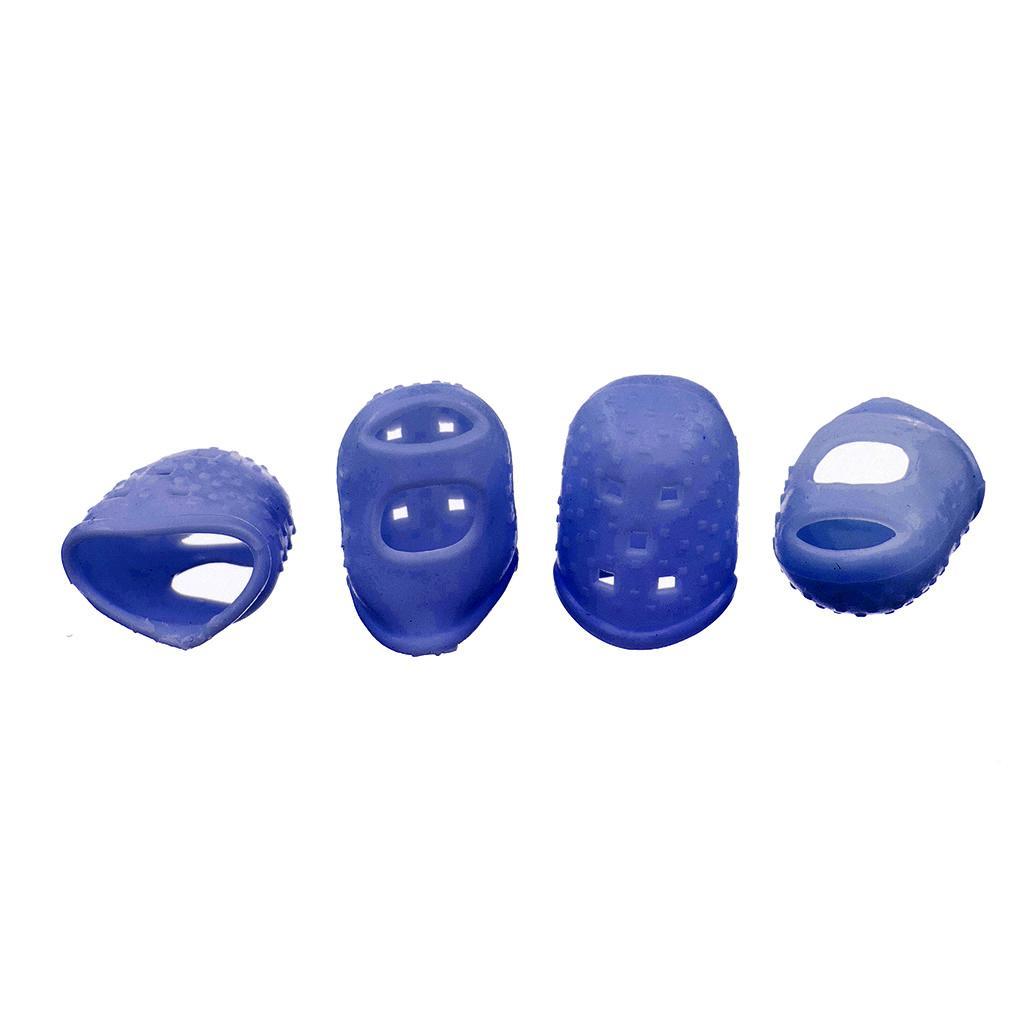 4 pcs Cute Blue Silicone Fingertip Protectors for Guitar Bass Banjo Medium