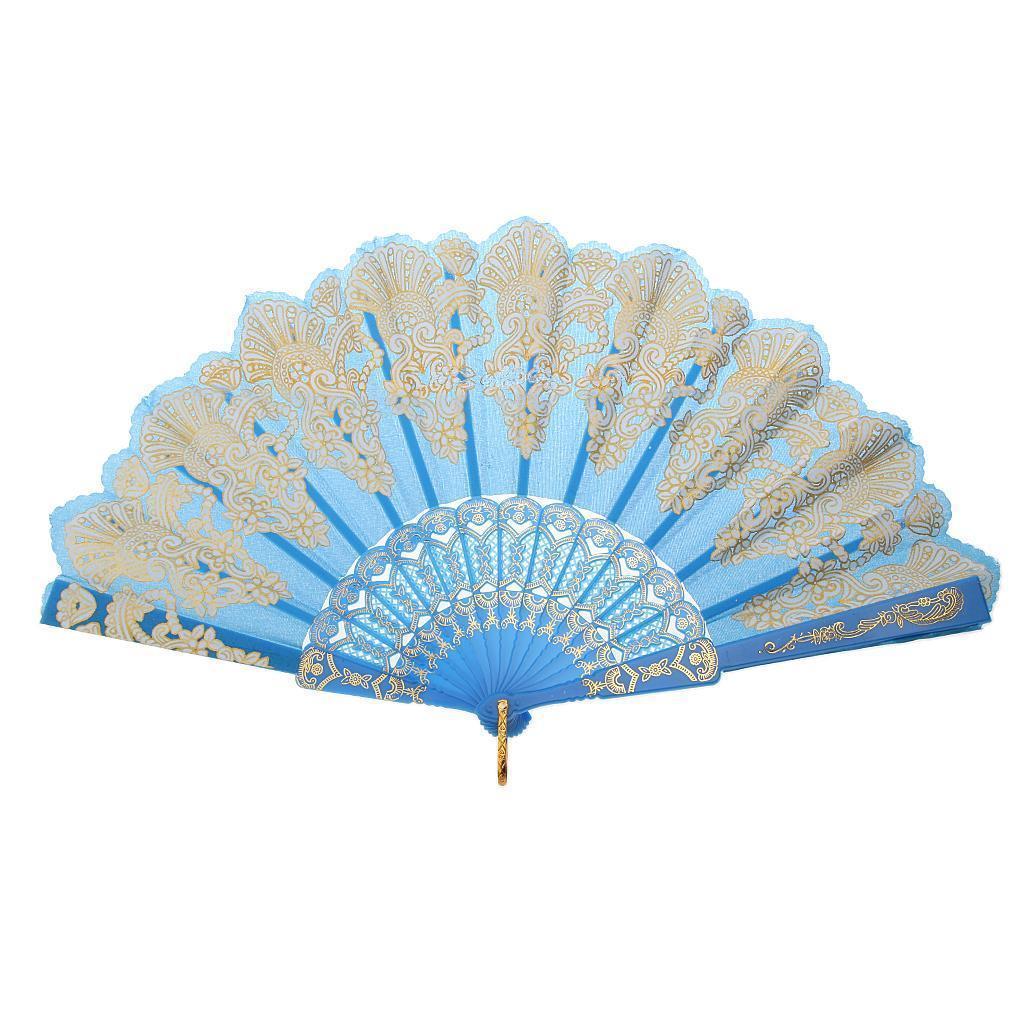 Chinese Foldable Trim Hand Fan Wing Chun Dancing Fan - Lake Blue