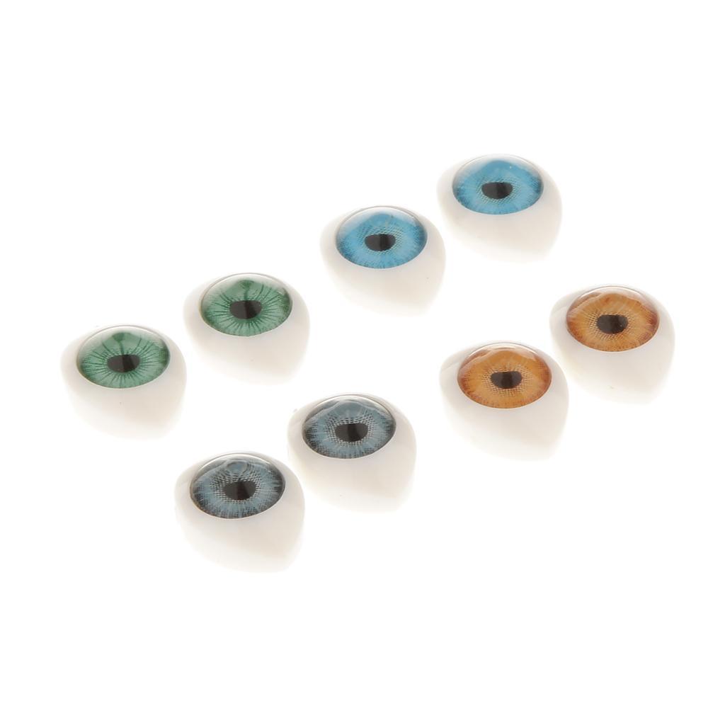 8 pcs 4 Color Oval Hollow Back Plastic Eyes For Dolls Mask DIY 8mm