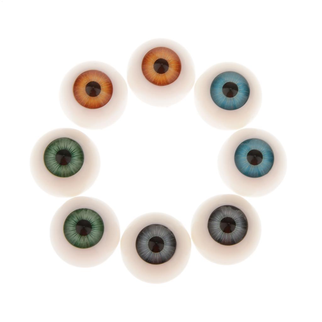 8 Pcs Half Round Hollow Acrylic Doll Dollfie Eyes Eyeballs 20mm