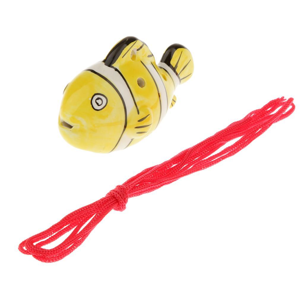Portable Instrument Fish Shape 6 Holes Ocarina Ceramic Yellow Musical Strap