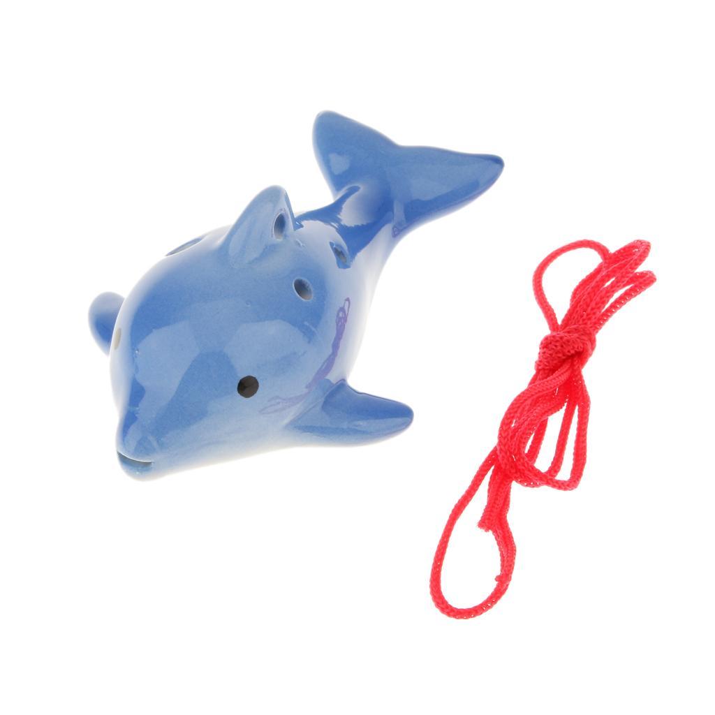 Portable Instrument Dolphin 6 Hole Ocarina Ceramic Blue Musical Strap