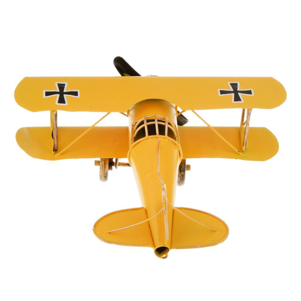Vintage Metal Airplane Model Biplane Military Aircraft