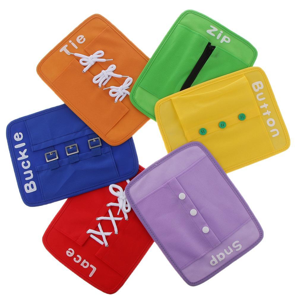 Set Zip Button Snap Buckle Tie Lace Plate Kids Educational Toy