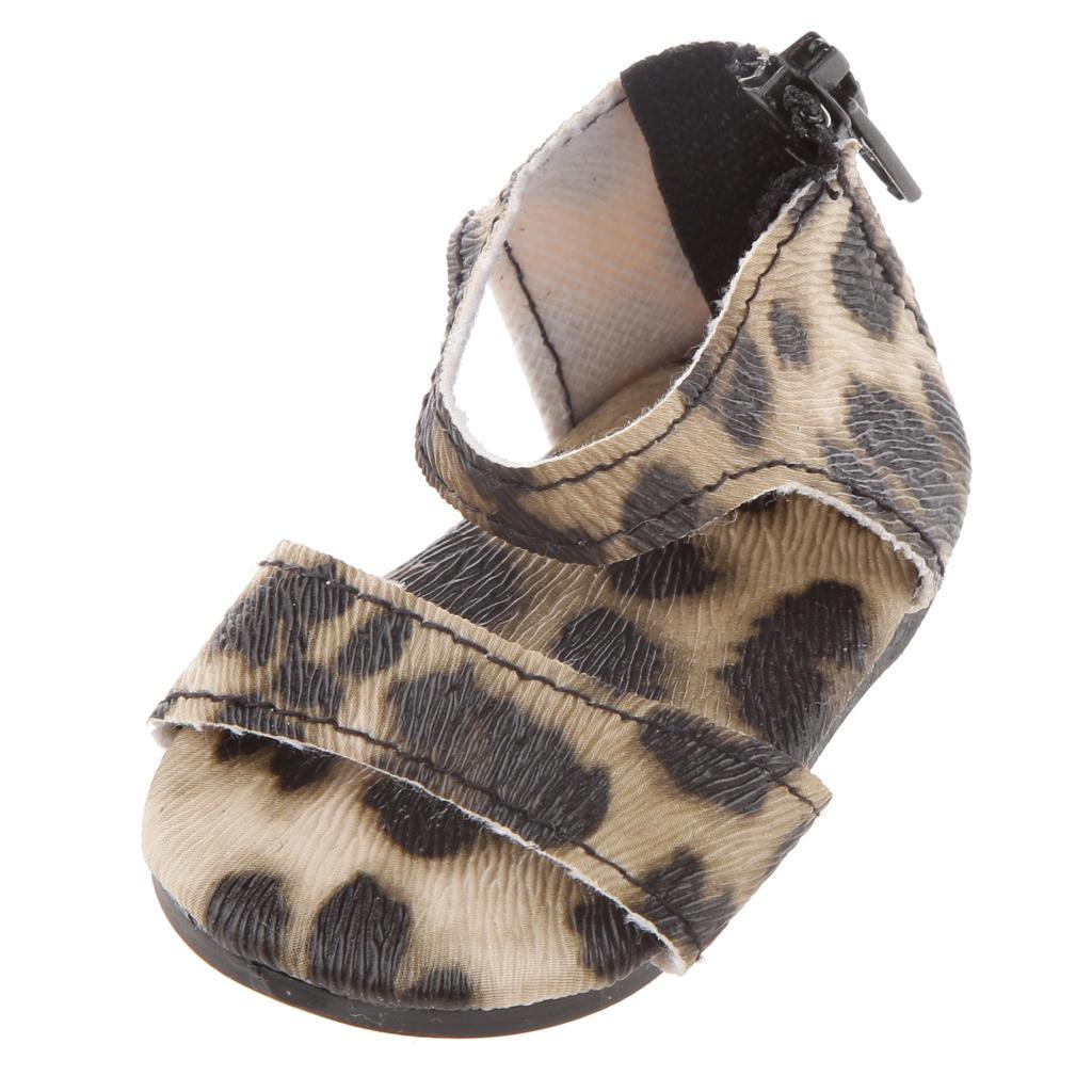 1 Pair Leopard Zip Back Sandal Shoes for 18 inch Dolls