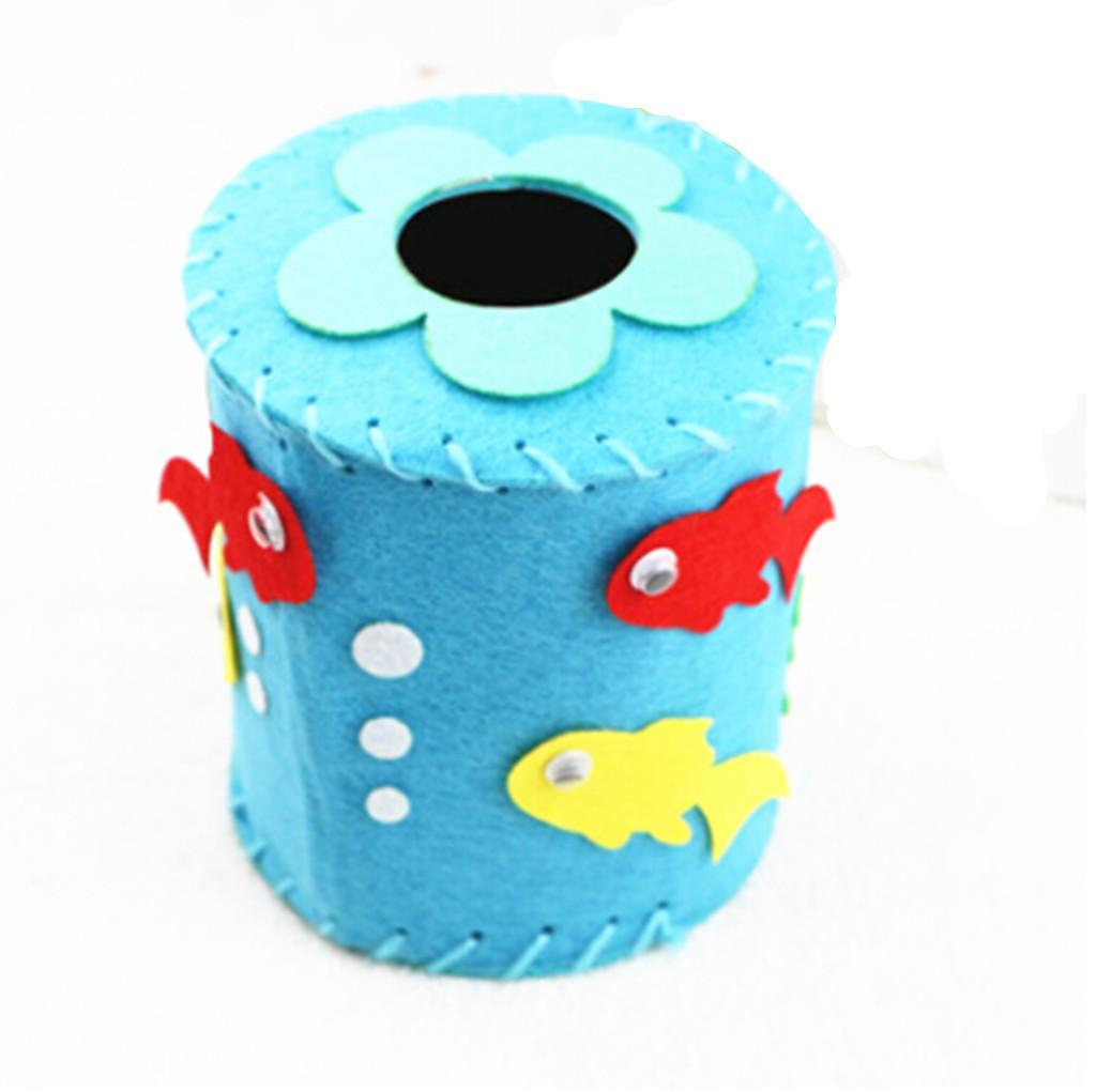 Non-woven Fabrics Cloth Tissue Box Case Holder DIY Kids Toys - Blue