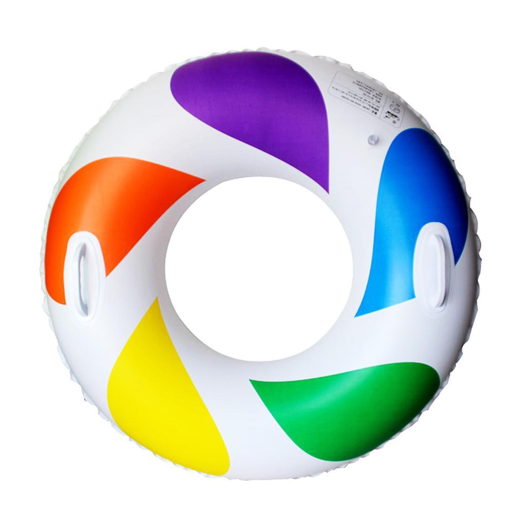 Swimming Rainbow Pool : Inflatable swim ring fun rainbow color swimming pool float