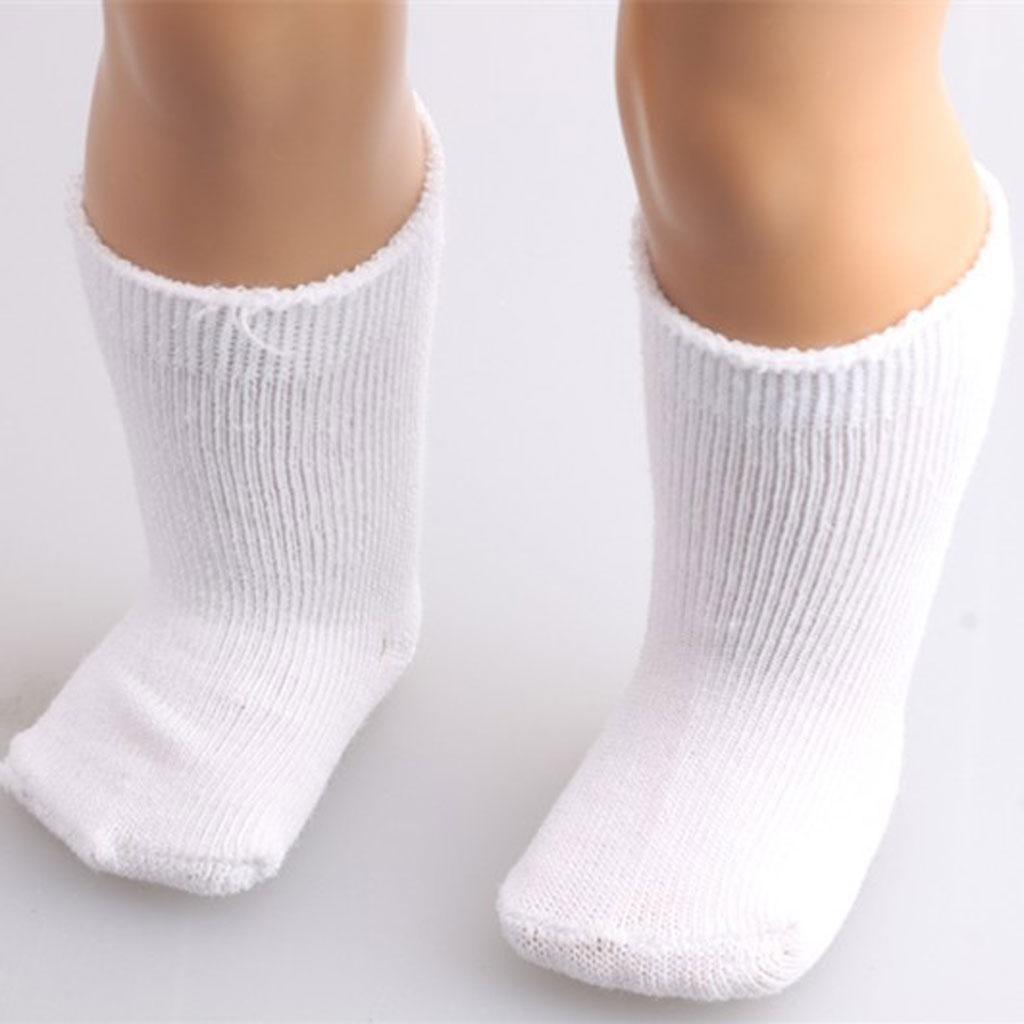 Pair White Stocking Socks for 18 inch Dolls