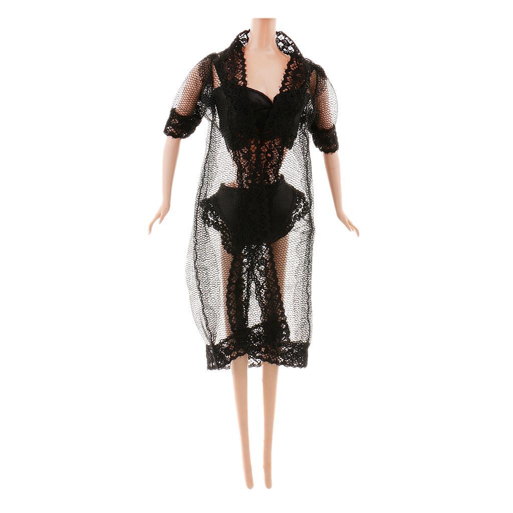 Lace Pajamas Set for Barbie Dolls Black