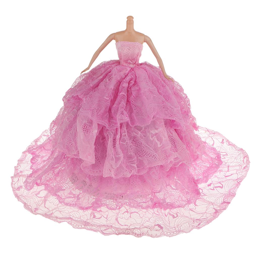 Pink Bride Princess Wedding Gown Dress for Barbie Dolls