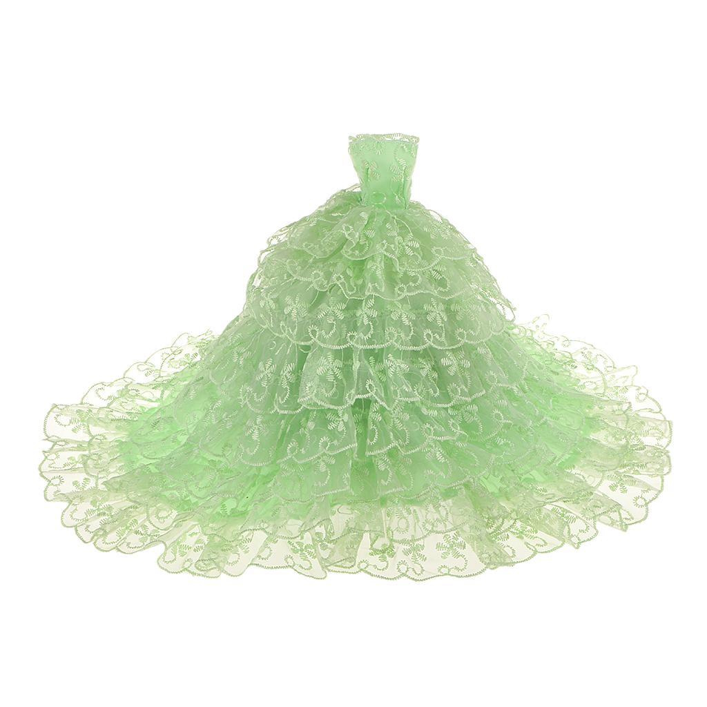 Green Bride Princess Wedding Gown Dress for Barbie Dolls