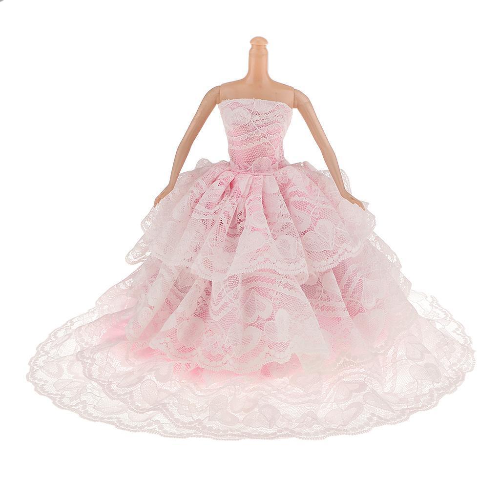 Pink Bride Prince Wedding Dress With Heart Shaped Bag for Barbie Dolls