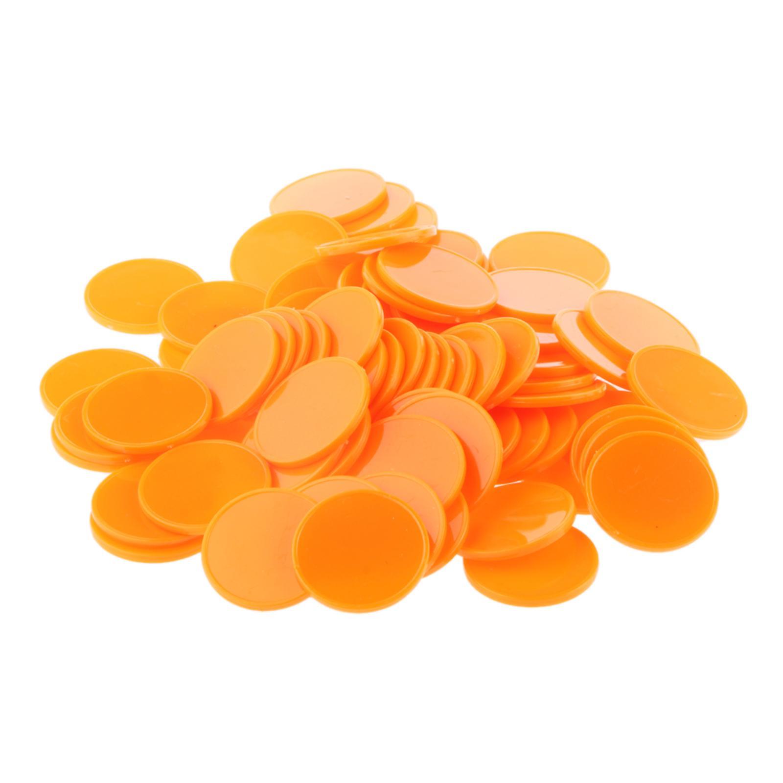 100x 25MM Plastic Casino Poker Chips Bingo Markers Token Fun Toy Gift Orange