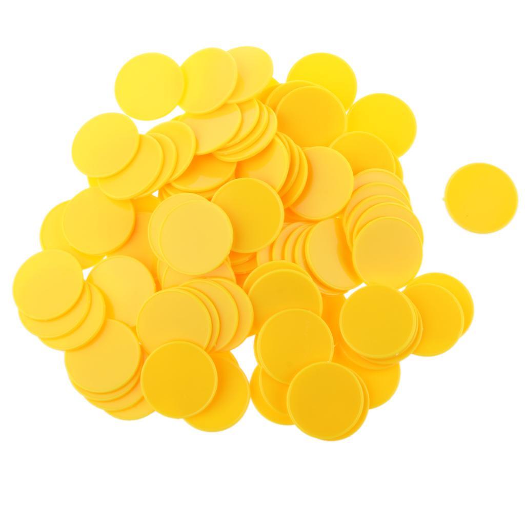 100pcs Casino Poker Chips Poker Game Board Game Chips DIY Craft 32mm Yellow