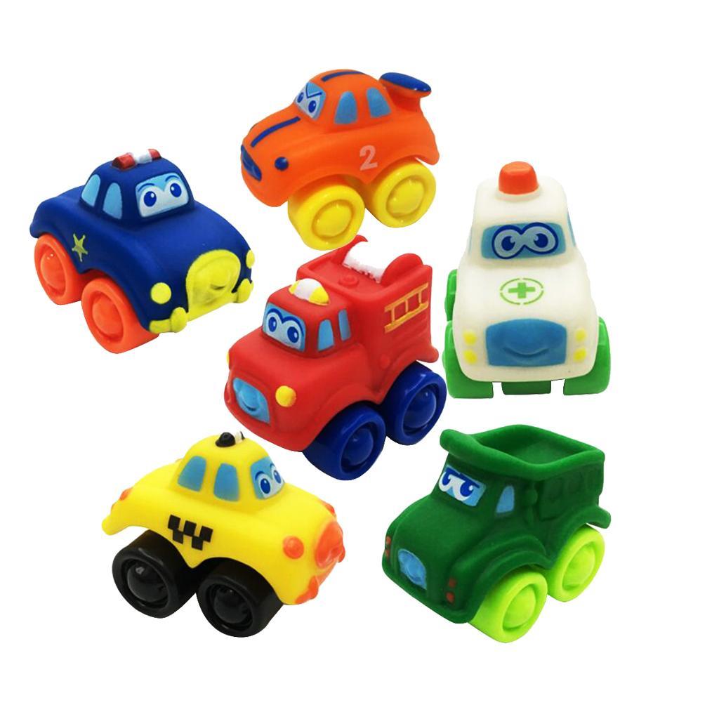 6 pieces kids children rubber plastic model car vehicle. Black Bedroom Furniture Sets. Home Design Ideas