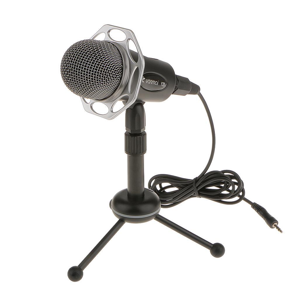 Computer 3.5mm Studio Condenser Microphone Recording w/ Stand Black