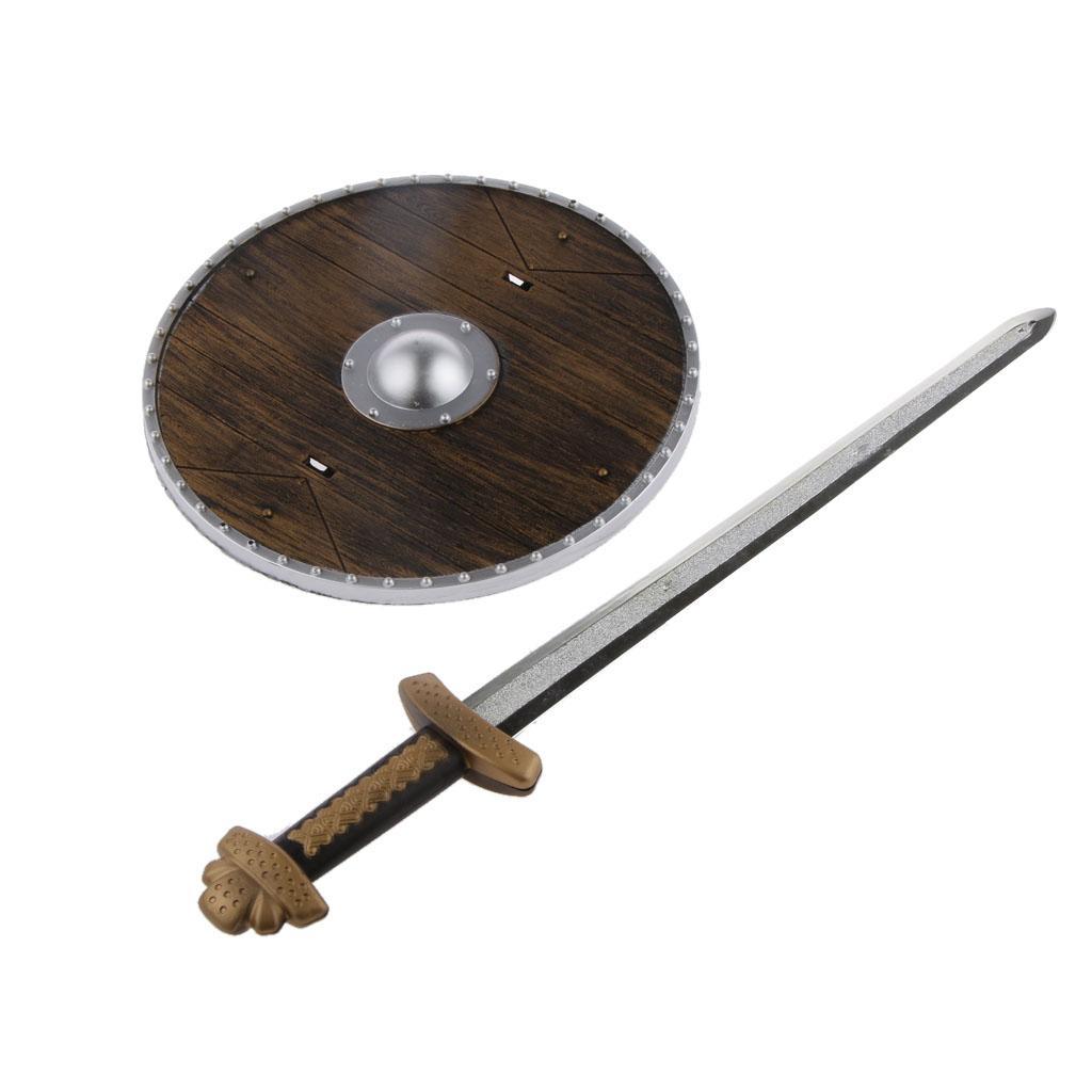 Medieval Viking Sword Shield Set Kids Fancy Dress Costume Accesso...