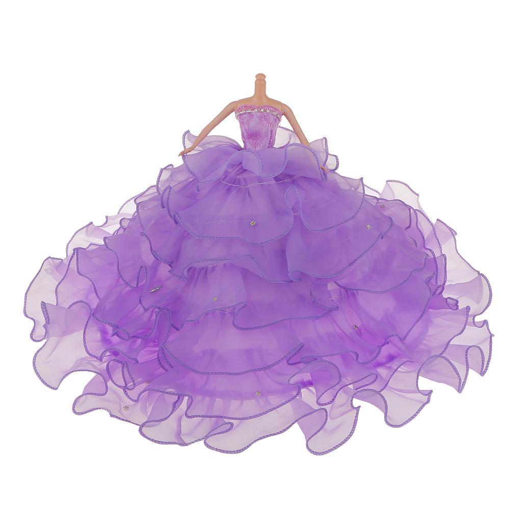 Fashion Strapless Bride Wedding Party Gown Dress for Barbie Dolls Purple