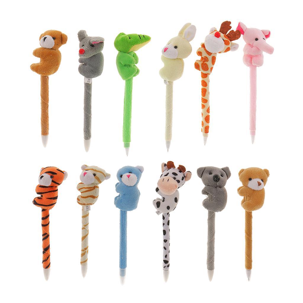 12Pcs Plush Animal Pens Plush Pens Plush Cartoon Fluffy Animal Pens Gifts